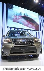 Bangkok - March 31 : Subaru Forestep 2.0 i-p on black car at The 37th Bangkok International Thailand Motor Show 2016 on March 31, 2016 in Bangkok, Thailand