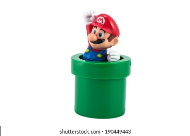 BANGKOK - MAY 01,2014: Mario's embosser. There are plastic toy sold as part of the McDonald's Happy meals.
