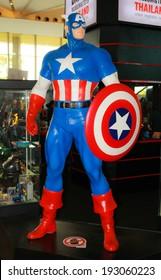 BANGKOK - MAY. 11: A Captain America model in Thailand Comic Con 2014 on May 11, 2014 at Siam Paragon, Bangkok, Thailand.