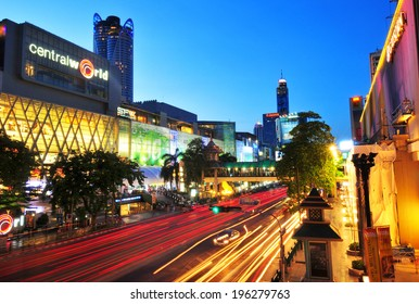 BANGKOK - MAY 11: Road with traffic jams. Area in front Central World. Economic center of Bangkok., Thailand on MAY 11, 2014