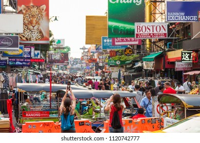 BANGKOK, MAY 11: Tourists take photos on Bangkok's Khao San Road on March 11, 2018.