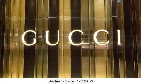 BANGKOK - MAY 13: The sign of Gucci at Gucci store in Central Embassy, Bangkok on May 13, 2014. Gucci is an Italian fashion and leather goods brand. Gucci is also the biggest-selling Italian brand.