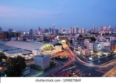 BANGKOK, May 17, 2018 Bangkok Railway Station(Hua Lamphong) in Twilight