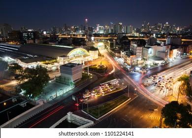 BANGKOK, May 17, 2018 Bangkok Railway Station(Hua Lamphong) at night