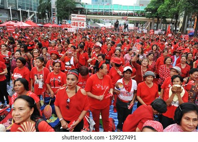 BANGKOK - MAY 19: Protesters attend a large red shirt rally on May 19, 2013 in Bangkok, Thailand. Red shirts gathered to mark the 3rd anniversary of a bloody crackdown on anti-government protests.