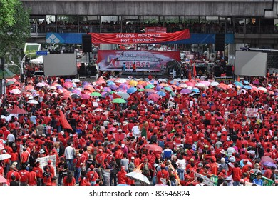 BANGKOK - MAY 19: Red-shirt protesters gather at Ratchaprasong Junction to mark one year since 91 people died in violent anti-government clashes in the Thai capital on May 19, 2011 in Bangkok, Thailand.