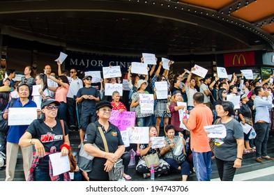 BANGKOK - MAY 24: People whom want democracy gathered at Major Cineplex Ratchayothin was against the military coup on May 24, 2014 in Bangkok, Thailand.