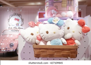 Bangkok - MAY 26, 2016 : Hello Kitty Merchandise Plush Soft Toys in Hello Kitty House Bangkok, Thailand. Hello Kitty House Cafe is 1 of the most popular tourist attractions in Bangkok. Sweet Pink Tone