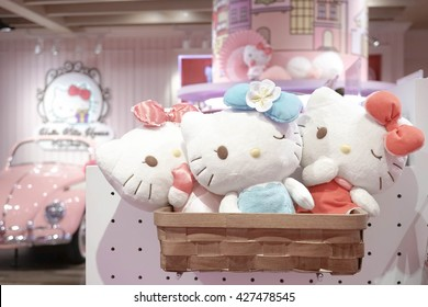 Bangkok - MAY 26, 2016 : Hello Kitty Merchandise Plush Soft Toys in Hello Kitty House Bangkok, Thailand. Hello Kitty House is 1 of the most popular tourist attractions in Bangkok. Soft focus, Vignette