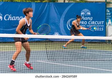 BANGKOK, MAY 27 : Kamonwan Buayam of Thailand and Dabin Kim of Koria action in Chang ITF Pro Circuit 4 International Tennis 2015 at Rama Gardens Hotel on May 27, 2015 in Bangkok Thailand.