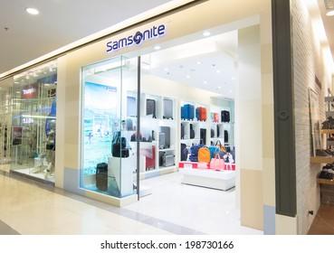 BANGKOK - MAY 29: SAMSONITE store at Central Rama 9, Bangkok on May 29, 2014. Samsonite International S.A. is an American multinational luggage manufacturer and retailer.