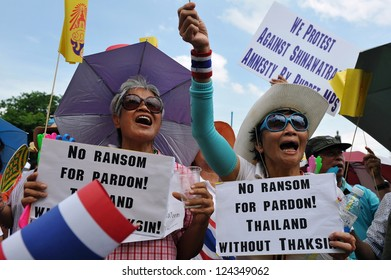 BANGKOK - MAY 30: Protesters attend a large anti-government rally at the Royal Plaza on May 30, 2012 in Bangkok, Thailand. The PAD organised rally was held to show opposition to a reconciliation bill.