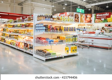 BANGKOK - MAY 4, 2016 Shelf with food product in makro supermarket,Makro is an originally Dutch chain of Warehouse clubs, also called cash and carries