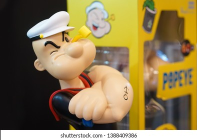 Bangkok - May 4, 2019 :  A photo of Popeye the sailor man. Popeye the sailor man is a famous fictional cartoon character created by E. C. Segar. First into comic stripe in 1929 & later animate cartoon