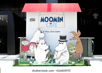 BANGKOK - MAY 6, 2016 : Moomin character Popup Paper dicut for Photo booth, made to promote Moomin Cafe Thailand, Grand opening in 18 Apr. 2016, at Siam Center. Moomin is famous character from Finland