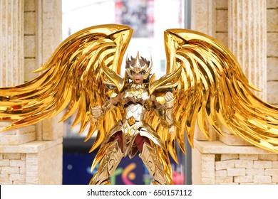 BANGKOK - MAY 6, 2017: Portrait shot of Dragon Shiryu, a character from famous japanese animation Saint Saiya or Knights of the Zodiac,written & illustrated by Masami Kurumada.Selective focus on armor