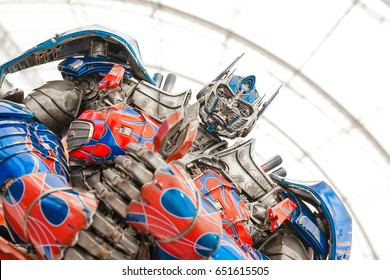 BANGKOK - MAY 6, 2017: Portrait shot of Optimus Prime Knight (Transformers : Age of extinction) on display at Central World. Limited 500 pieces worldwide only. Editorial Used Only.