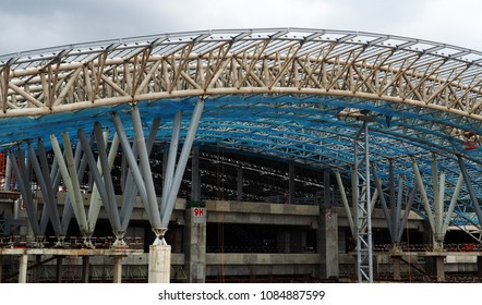 BANGKOK - MAY 6, 2018: Large metallic structure at the construction site of Bangsue Grand Station on May 6, 2018 in Thai capital Bangkok.