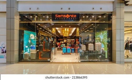 BANGKOK - MAY 7: Samsonite shop at Central World on May 7, 14 in Bangkok. It is a shopping plaza and complex which is the sixth largest shopping complex in the world, owned by Central Pattana.