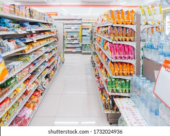 BANGKOK - MAY15: the shelf at seven eleven shop in bangkok city tower in Bangkok on MAY15, 2020. seven eleven is one of largest convenience store franchise chains in thailand