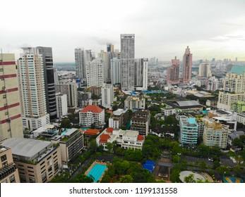 Bangkok Metropolis, aerial view over the biggest city in Thailand. Bangkok skyline from Sukhumvit street. Aerial view of Bangkok skyline and skyscraper. Bangkok. Thailand. 09/24/2018