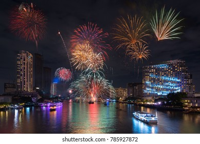 Bangkok New Year 2018 Firework at Taksin Bridge