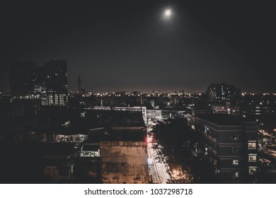 Bangkok night building landscape and moon vintage style.