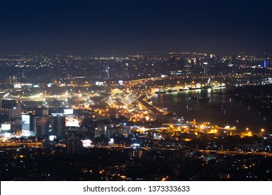 Bangkok night life, Bangkok cityscape, Bangkok night view in the business district.