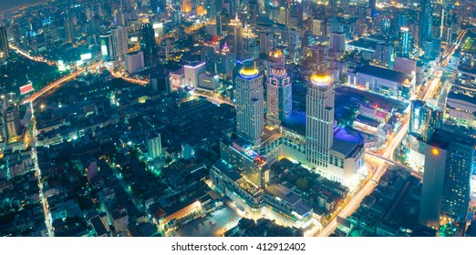 Bangkok at night or Twilight, Aerial Scenic Panoramic view