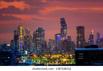 Bangkok night view during twilight time , Thailand