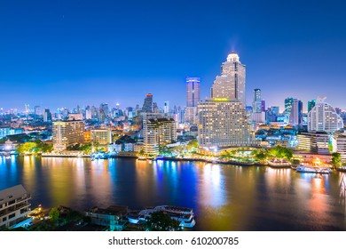 Bangkok night view skyline.