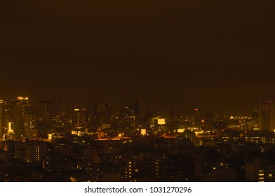Bangkok night view with skyscraper in business district in Bangkok Thailan