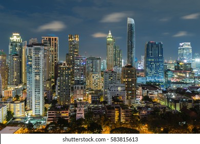 Bangkok night view with skyscraper in business district in Bangkok Thailand.