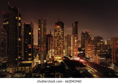 Bangkok night view with skyscraper in business district in Bangkok Thailand