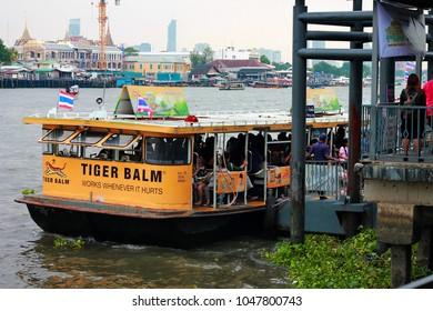 Bangkok Noi, Phra Nakhon, Bangkok, Thailand, March 09, 2018: Wang Lang - Tha Phra Chan ferryboat is parking and transferring the passengers at Wang Lang Pier, Bangkok, Thailand.