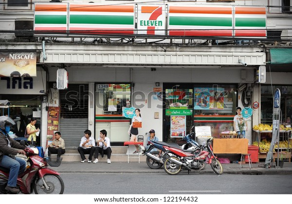 BANGKOK - NOV 11: Exterior of a 7-Eleven store on a road in Banglampoo district on Nov 11, 2012 in Bangkok, Thailand. There are 6300 7-Eleven stores in Thailand, the third highest number in the world.