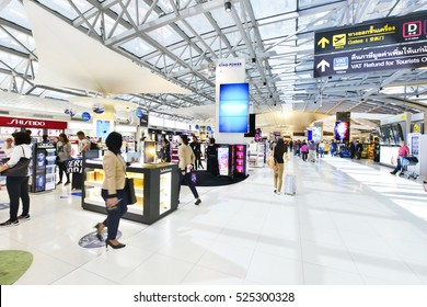 BANGKOK - NOV 12,2016: Shopping area at Bangkok Suvarnabhumi International Airport in Bangkok. The airport is 18th busiest in the world (by passenger traffic).