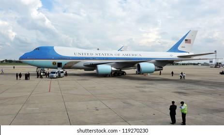BANGKOK - NOV 18: Air Force One waits on the tarmac at Don Muang International Airport as US President Barack Obama begins a historic tour of Southeast Asia on Nov 18, 2012 in Bangkok, Thailand.