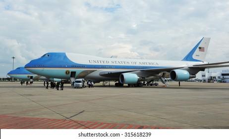 BANGKOK - NOV 18: Air Force One sits on the tarmac at Don Muang International Airport as US President Barack Obama begins a historic tour of Southeast Asia on Nov 18, 2012 in Bangkok, Thailand.