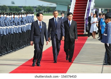 BANGKOK - NOV 18: US President Barack Obama arrives at Don Muang International Airport on the first day of his historic three-nation Southeast Asia tour on November 18, 2012 in Bangkok, Thailand.