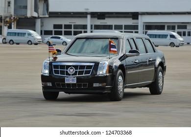 BANGKOK - NOV 18: US Presidential State Car makes its way across the tarmac at Don Muang International Airport as President Barack Obama begins a SE Asia tour on Nov 18, 2012 in Bangkok, Thailand.