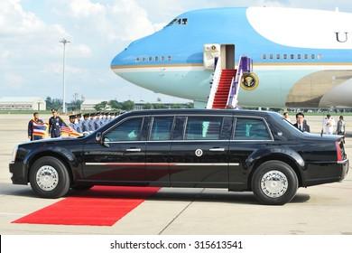 BANGKOK - NOV 18: The US Presidential State Car leaves Don Muang International Airport as President Barack Obama begins a historic SE Asia tour on Nov 18, 2012 in Bangkok, Thailand.
