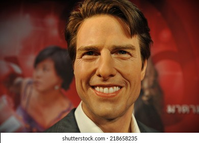 BANGKOK - NOV 21: A waxwork of Tom Cruise on display at the newly opened Madam Tussauds on Nov 21, 2013. Madam Tussauds' newest branch hosts waxworks of numerous stars and celebrities.