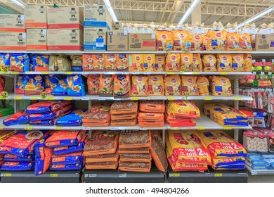 BANGKOK - NOV 23: Pet food Products on the shelf at Tesco Lotus hypermarket on Nov 23, 2014 in Bangkok, Thailand.