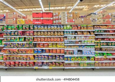 BANGKOK - NOV 23: Snack roducts on the shelf at Tesco Lotus hypermarket on Nov 23, 2014 in Bangkok, Thailand.