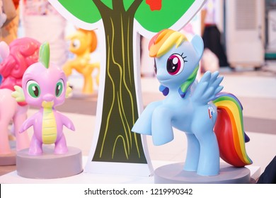Bangkok - Nov 3, 2018 : A photo of Rainbow Dash, pegasus cartoon character from My Little Pony at the product launching event of MySinghaMyLittlePony water bottle brand collaboration.Free entry event