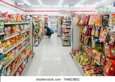 BANGKOK - NOV27: the shelf at seven eleven shop in bangkok city tower in Bangkok on Nov 27, 2017. seven eleven is one of largest convenience store franchise chains in thailand
