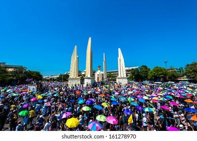 BANGKOK - NOVEMBER 04 : The Democrats are on the march at Democracy monument, on November 4, 2013 in Bangkok THAILAND