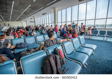 Bangkok- November 20,2015 : Unidentified travellers in departures room at Don Mueang Airport. Don Mueang International Airport is one of two international airports serving Bangkok, Thailand.