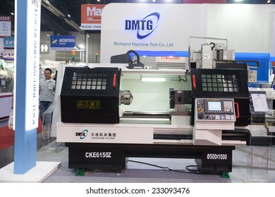 BANGKOK - NOVEMBER 22 :DMTG Computer control machine set box  in a warehouse display at METALEX 2014 on Nov 22,2014 in  BITEC ,Bangkok, Thailand.